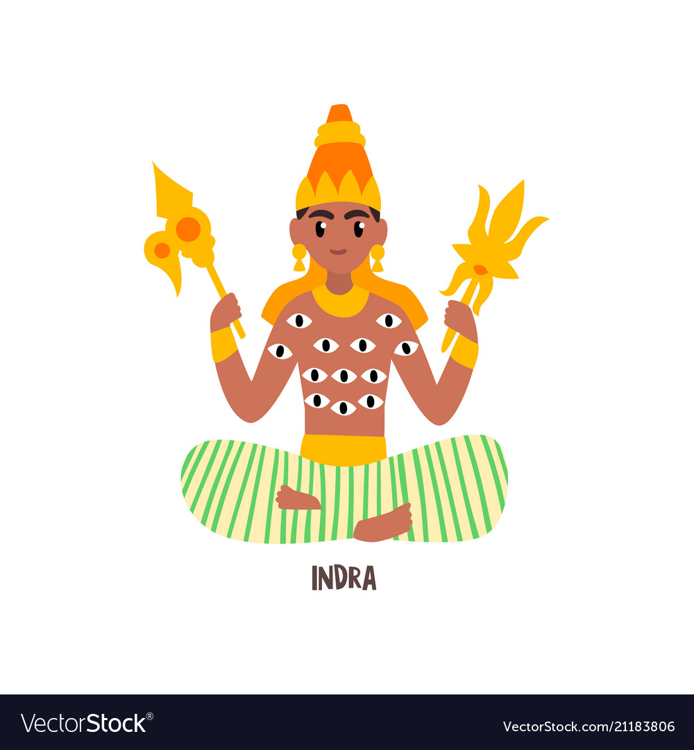 Indra indian god on a white