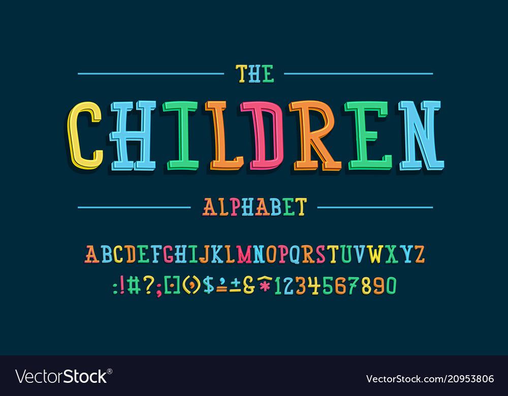 Latin alphabet children font in cute cartoon 3d