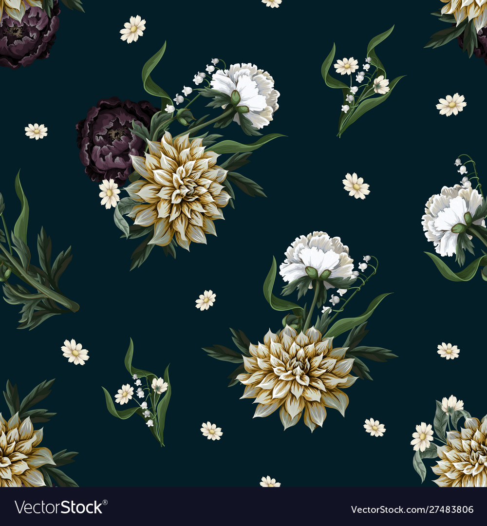 Seamless pattern with dahlia and peony in vintage