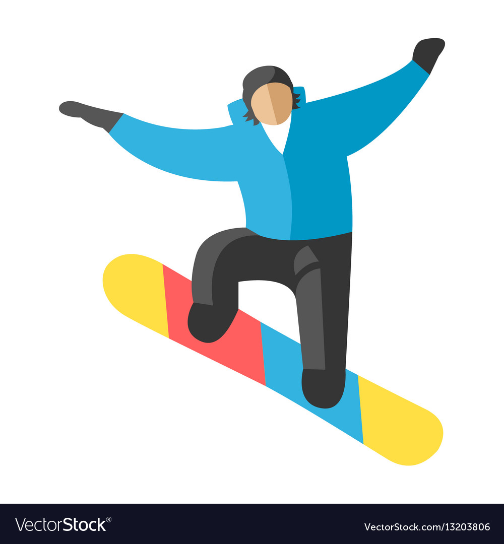 Snowboarder jump in pose people
