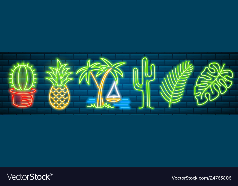 Tropical neon signs cactus and pineapple plants