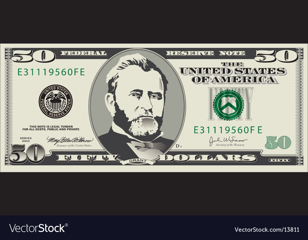 50 dollar bill royalty free vector image vectorstock rh vectorstock com one dollar bill vector dollar bill vector art