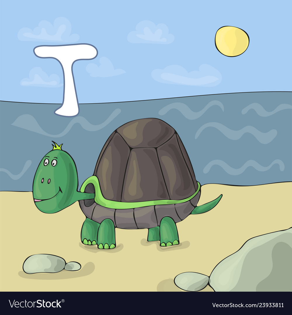 Alphabet letter t and turtle abc book