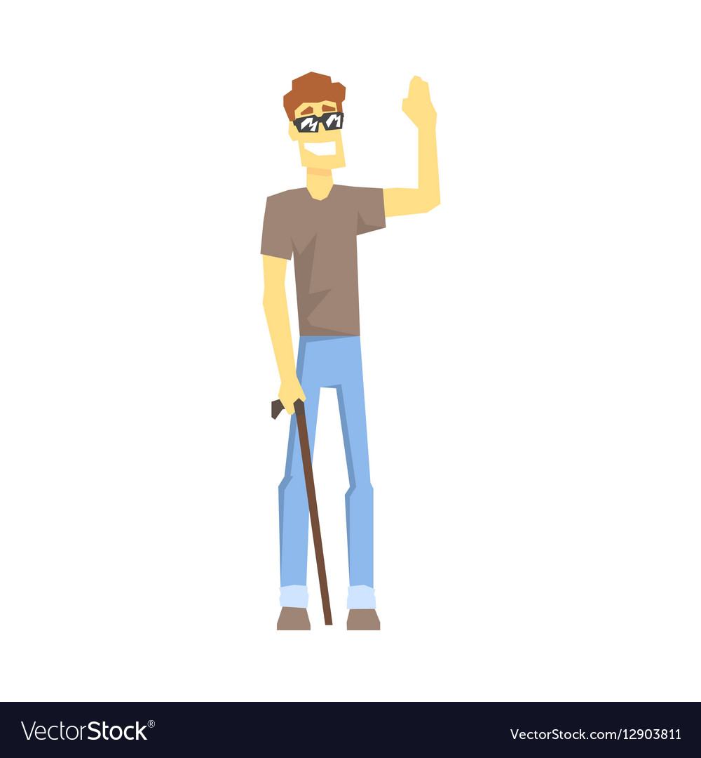 Blind Guy With Walking Stick Young Person With vector image