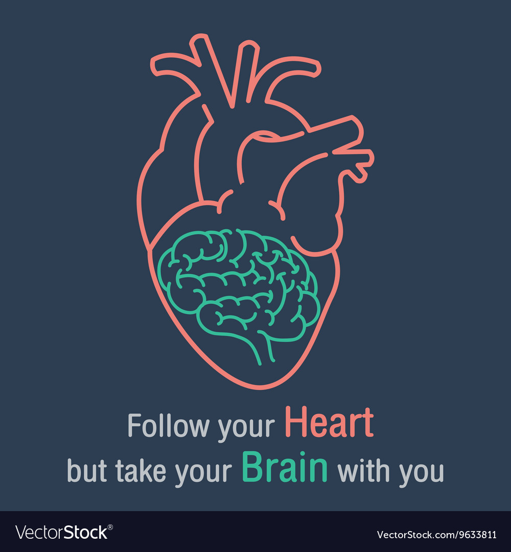 Brain and heart quotes Royalty Free Vector Image