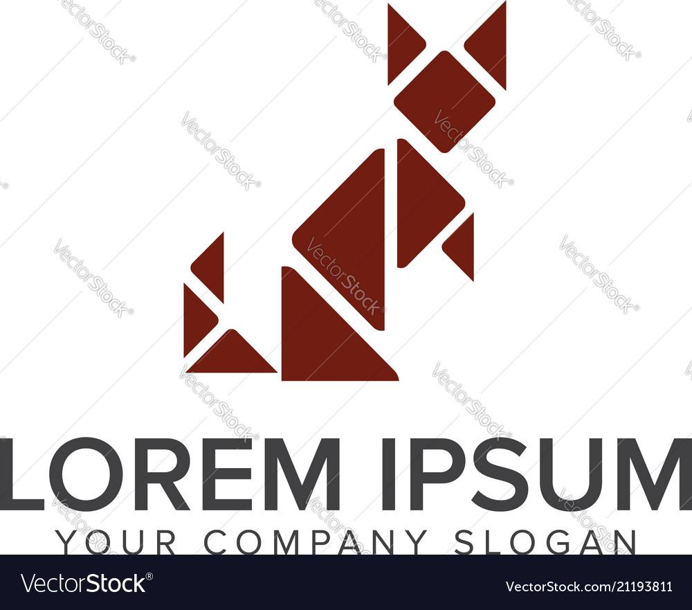 Cat square logo design concept template