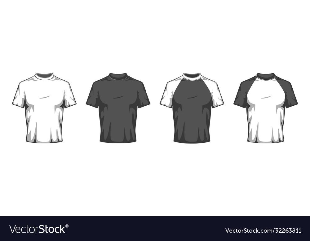 Flat t shirt mockup blank white and black t-shirt