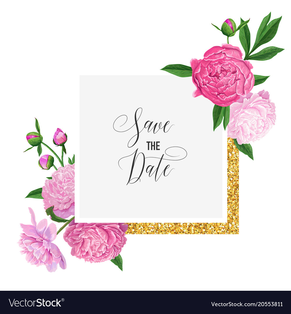 Floral wedding invitation template pink peony