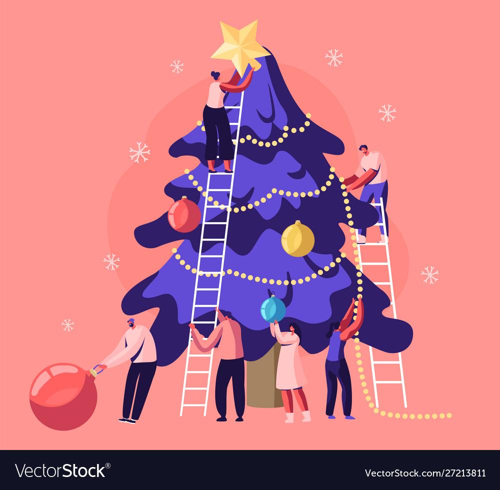 Happy tiny people decorate huge christmas tree