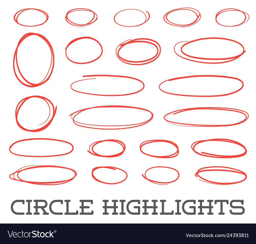 Highlight circles set collection hand drawn red
