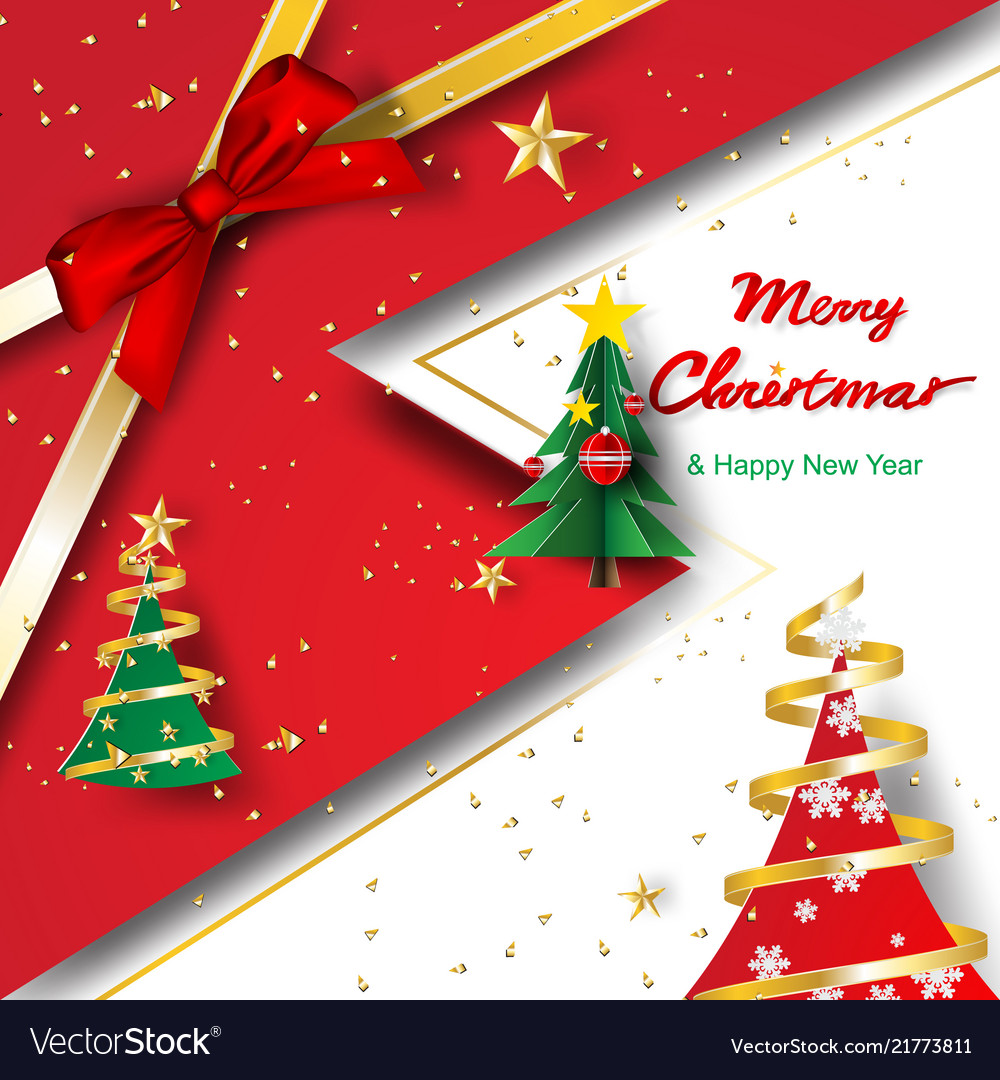 Paper art and craft of merry christmas and happy