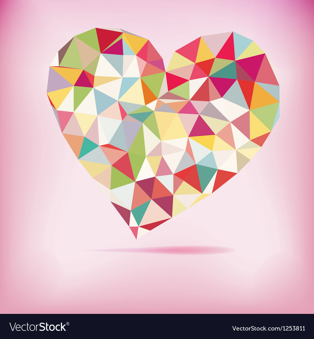 Retro heart made from color triangles EPS8