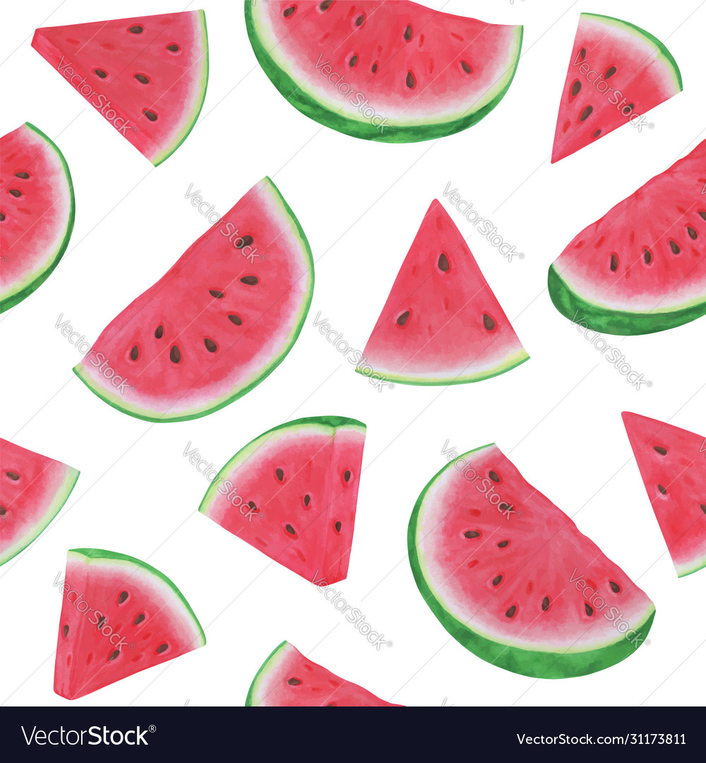 Seamless pattern with watermelon slices on white