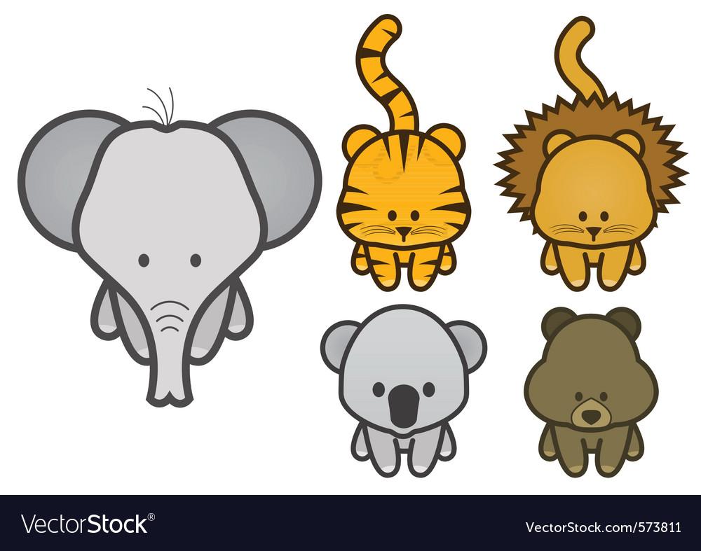 Set of cartoon wild or zoo animals