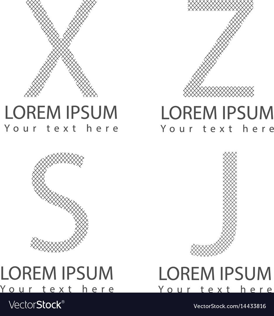 Abstract alphabet letter logotype symbol icons set