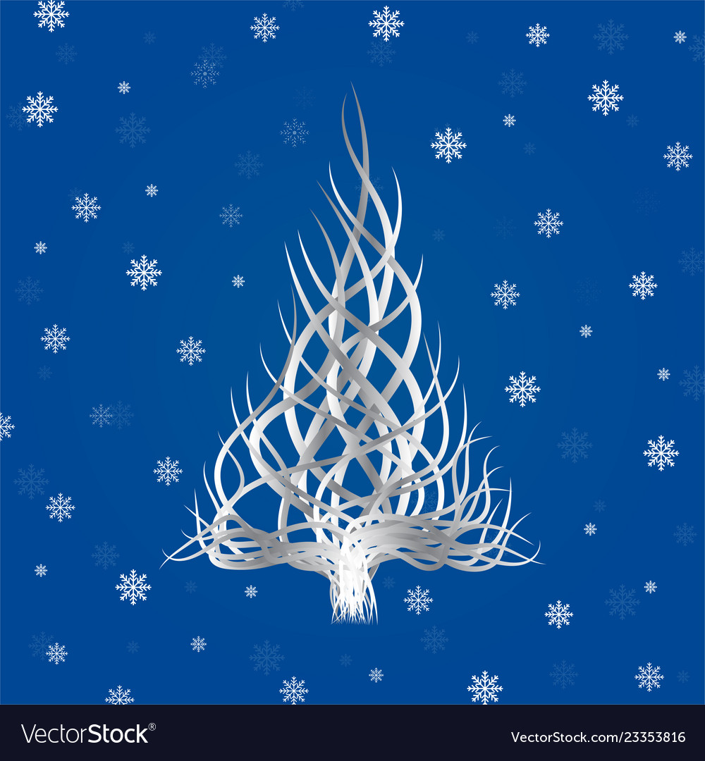 Abstract christmas tree of wavy lines