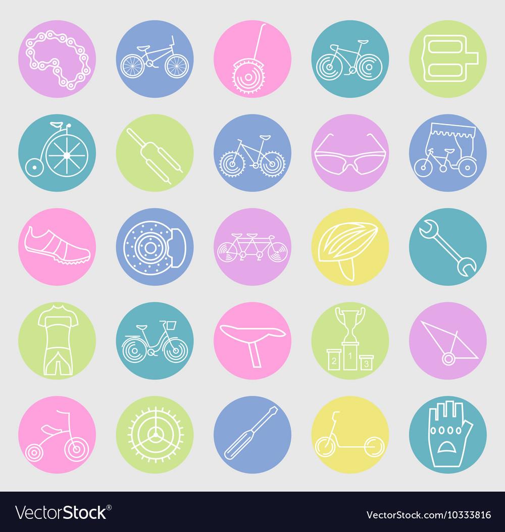 Bicycle icon set Bike types linear thin de
