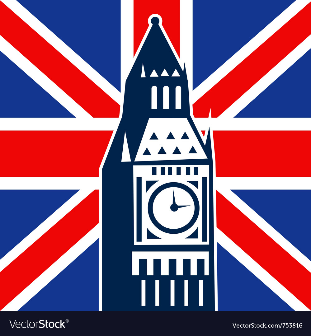 Big ben clock bell tower british falg