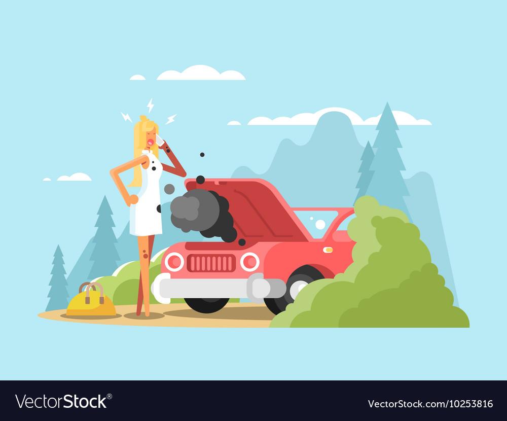 Blonde and broken car vector image