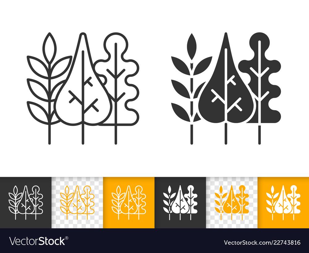 Fall leaves simple black line icon
