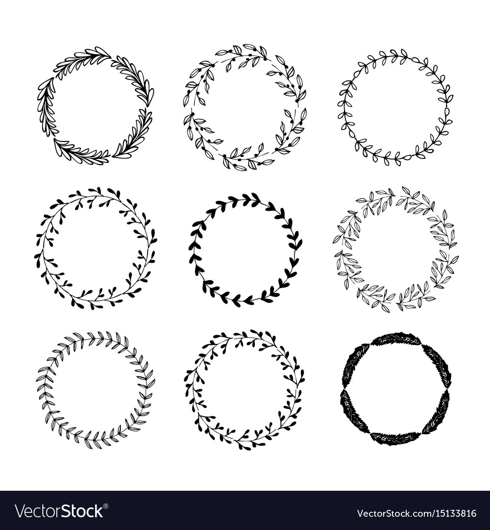 Hand drawn set of floral wreaths