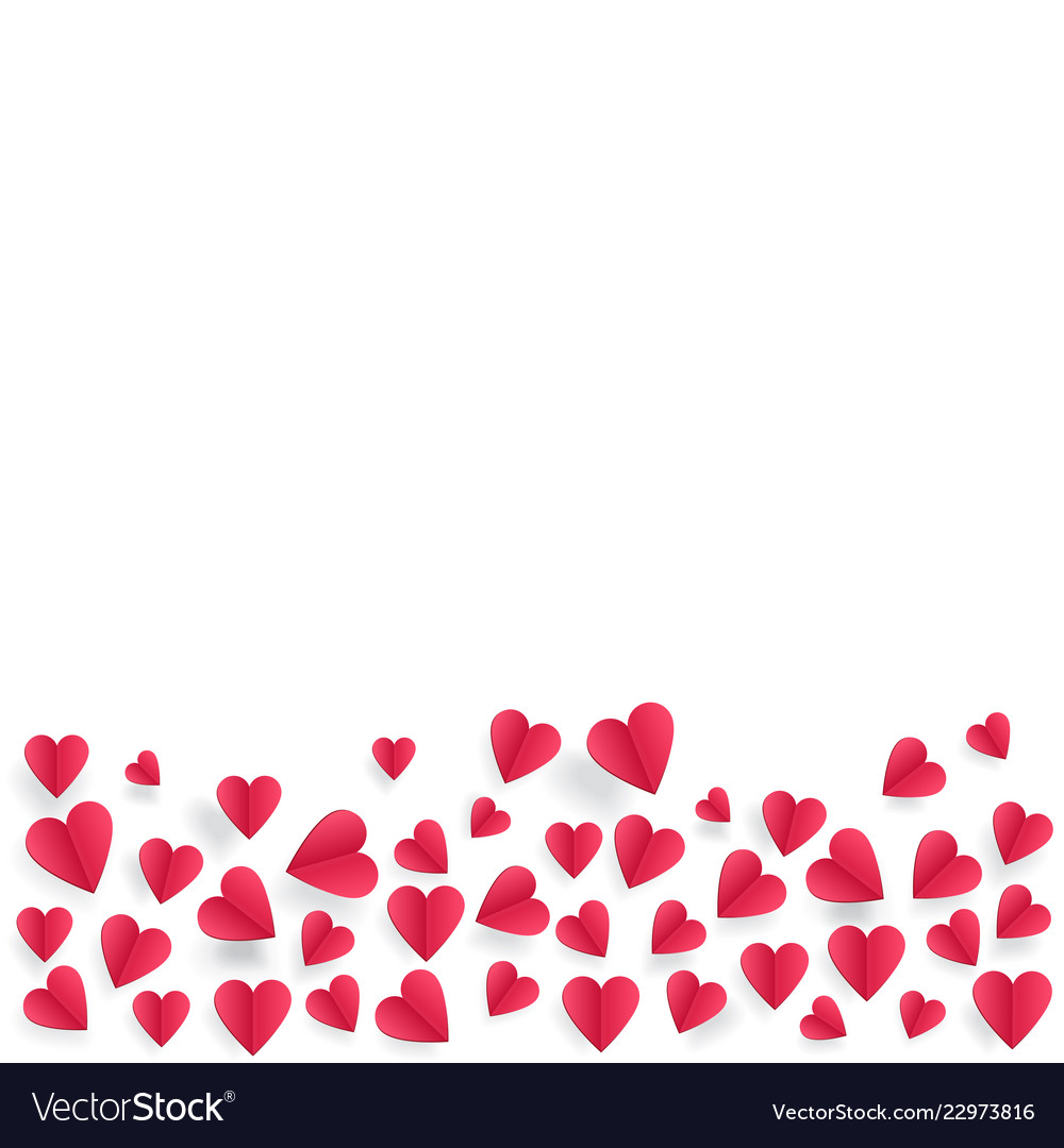 Hearts on abstract love background with paper cut
