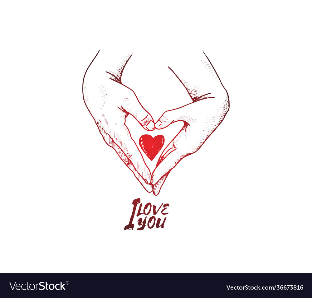 I love you design two hand make love shape with