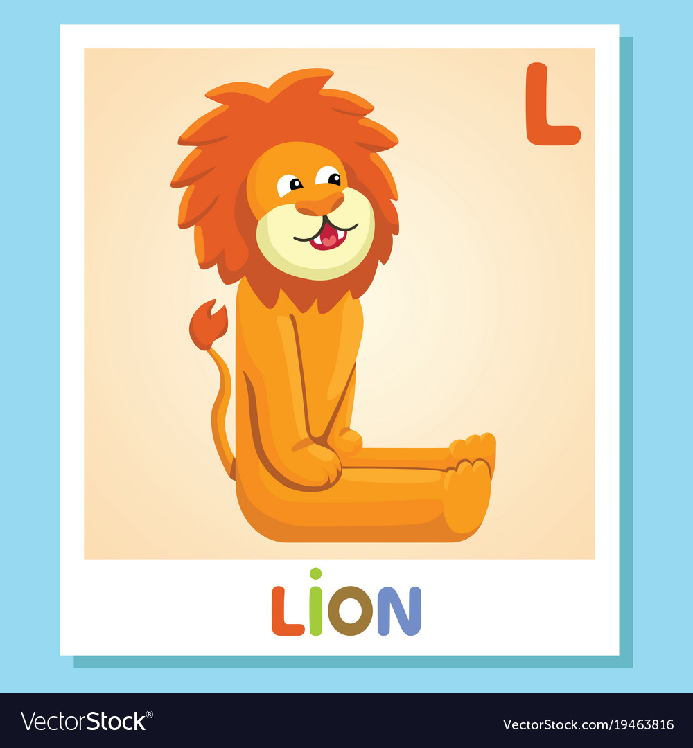L Is For Lion Letter Cute Vector Image