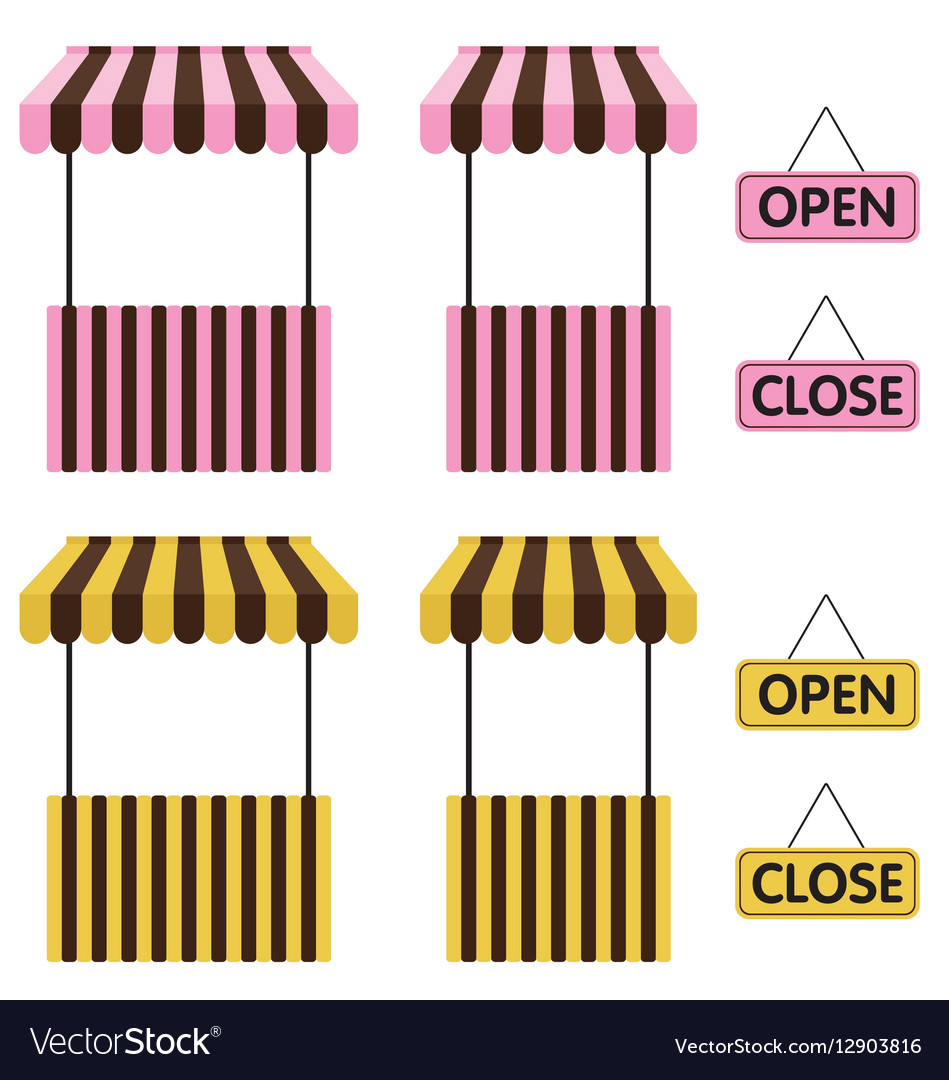 Market stall Yellow and Pink color with open sign