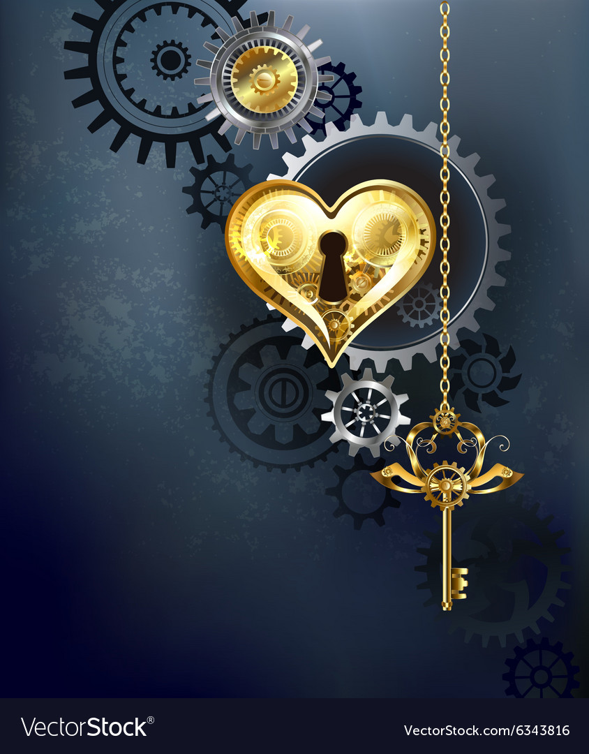 Mechanical Heart with Key vector image