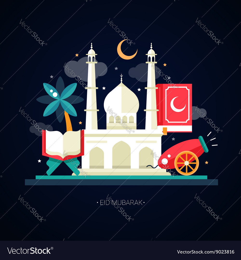 Postcard template with islamic culture icons vector image