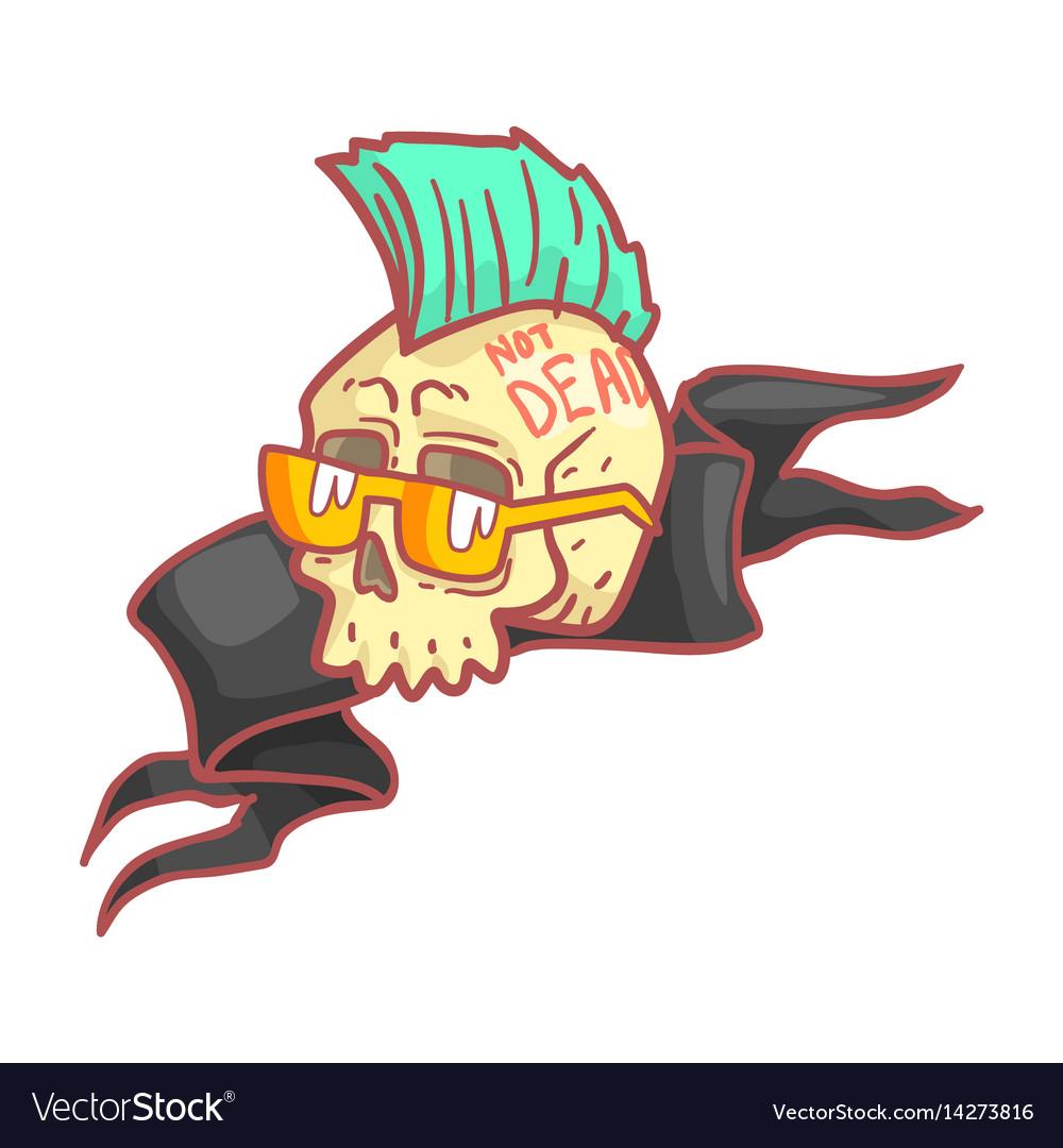 Punk skull wearing glasses colorful cartoon