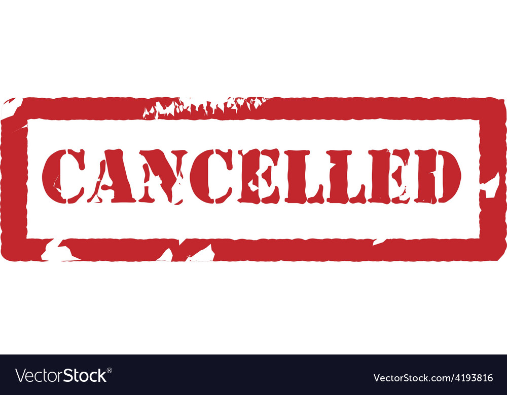 Rubber stamp with text cancelled
