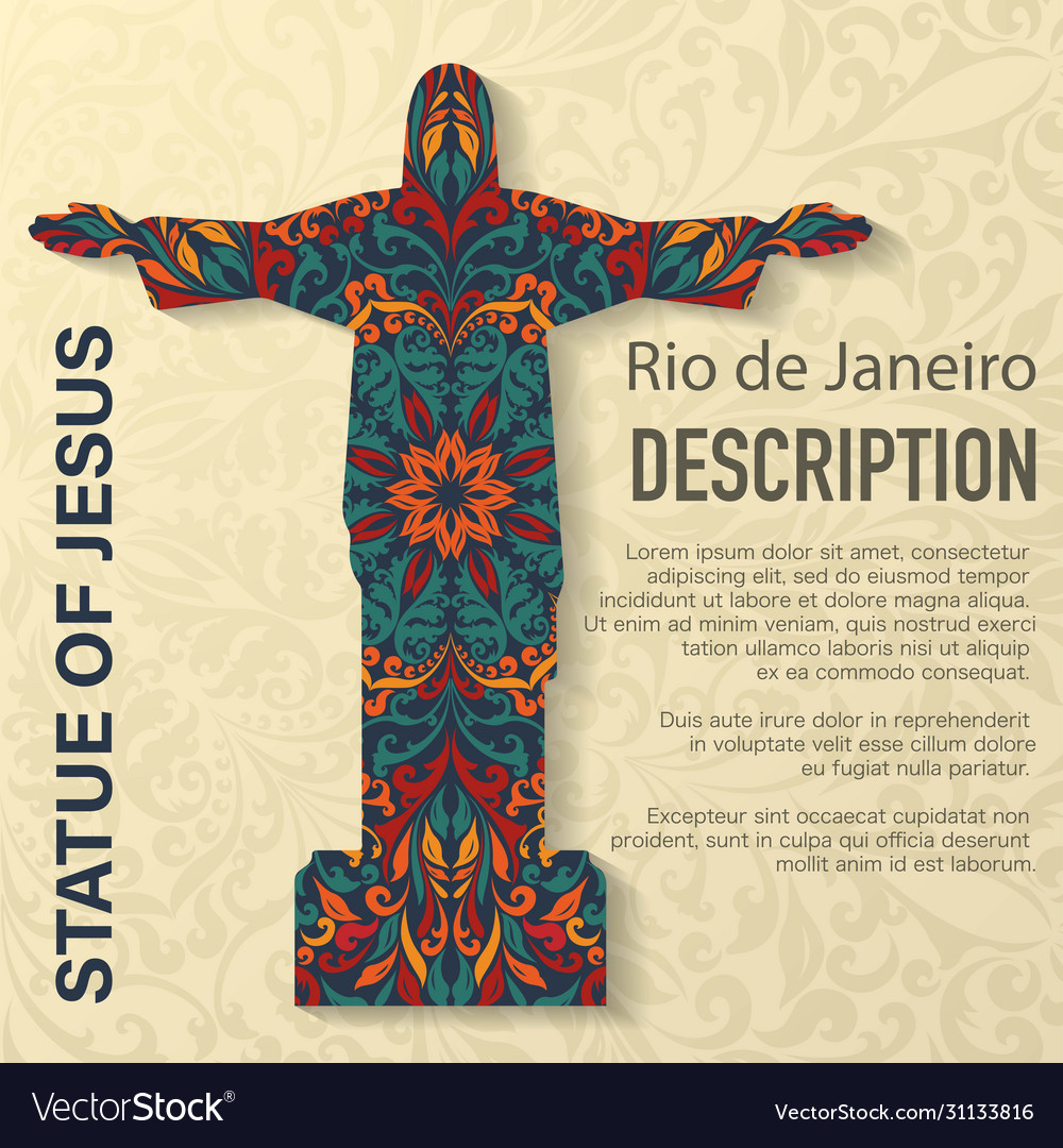 Statue jesus floral pattern background vector