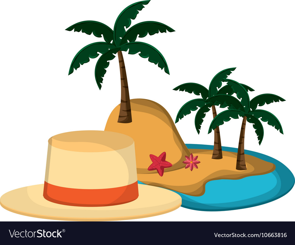Tropical island and hat icon