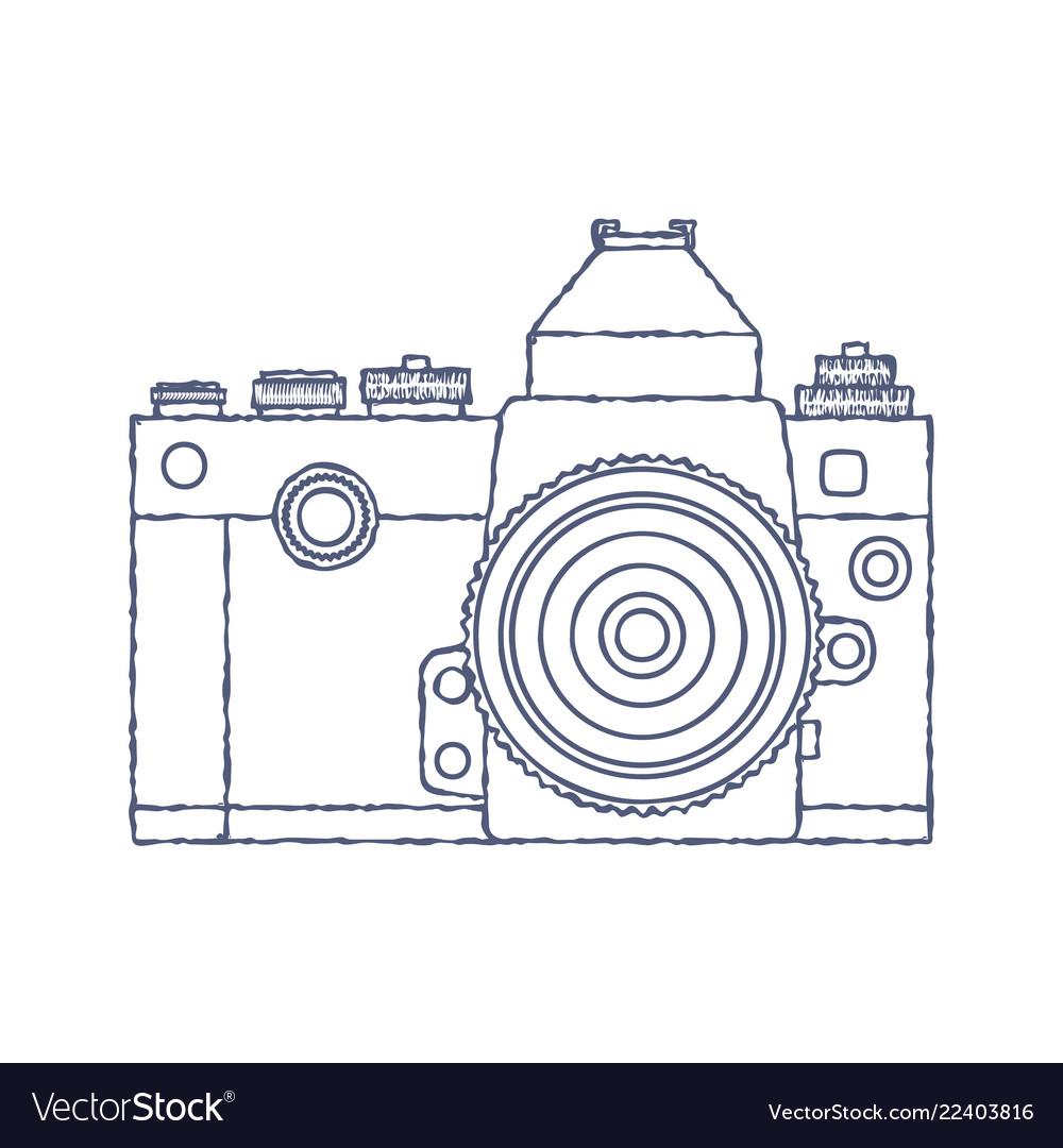 Vintage old photo camera logo hand drawn