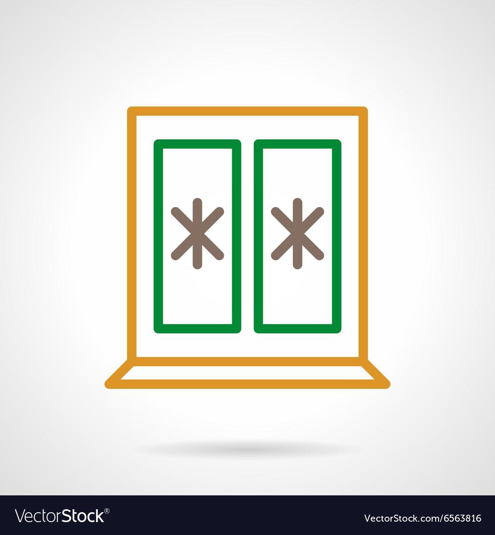 Winter window color simple line icon