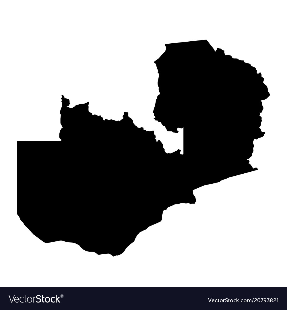 Zambian Map Vector.Black Silhouette Country Borders Map Of Zambia On