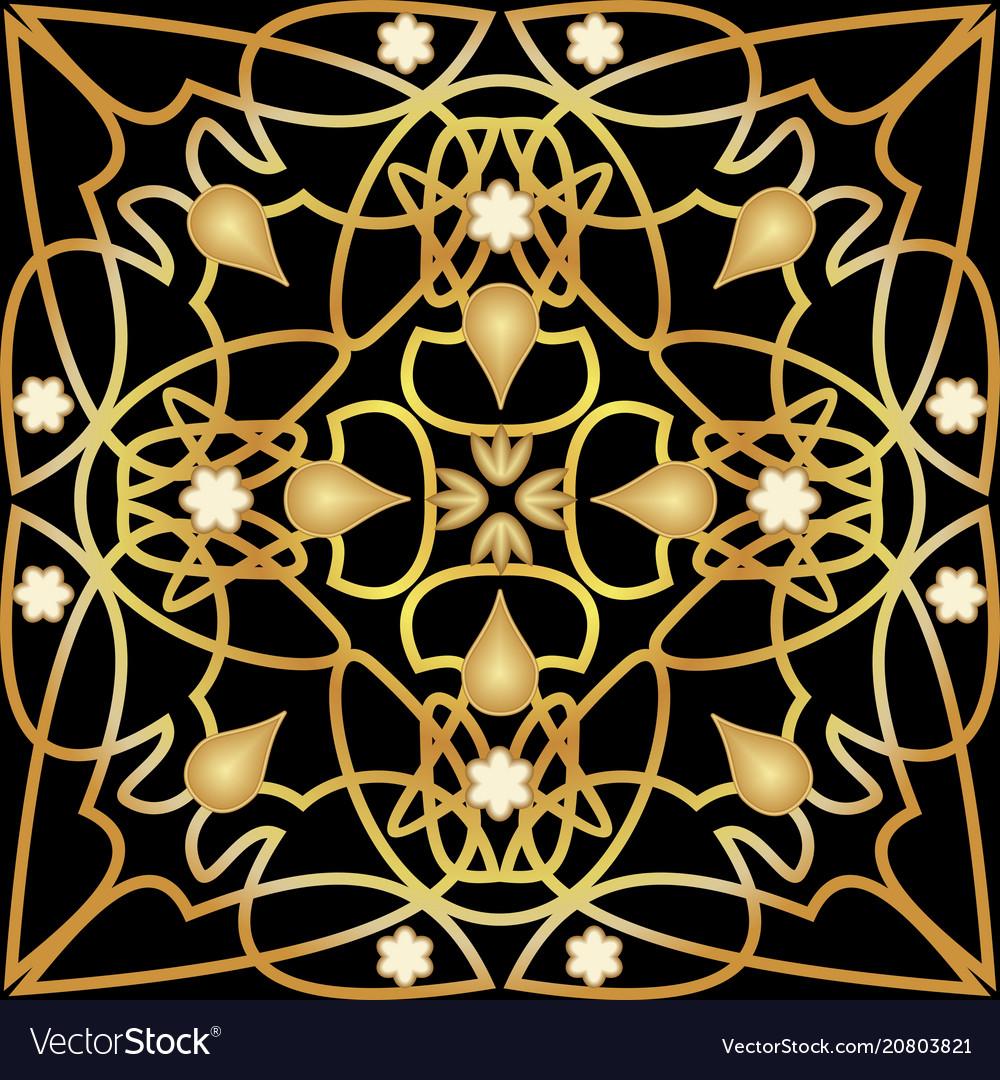 Black tile with luxurious golden art deco decor vector image