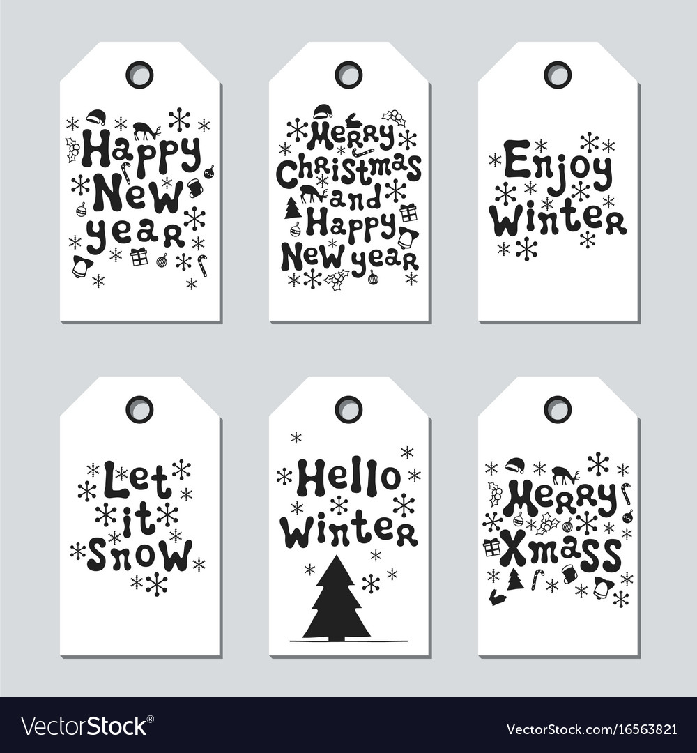 Set Of New Year Gift Tags Vector Template Hand Drawn: Christmas And New Year Gift Tags Cards Xmas Set Vector Image