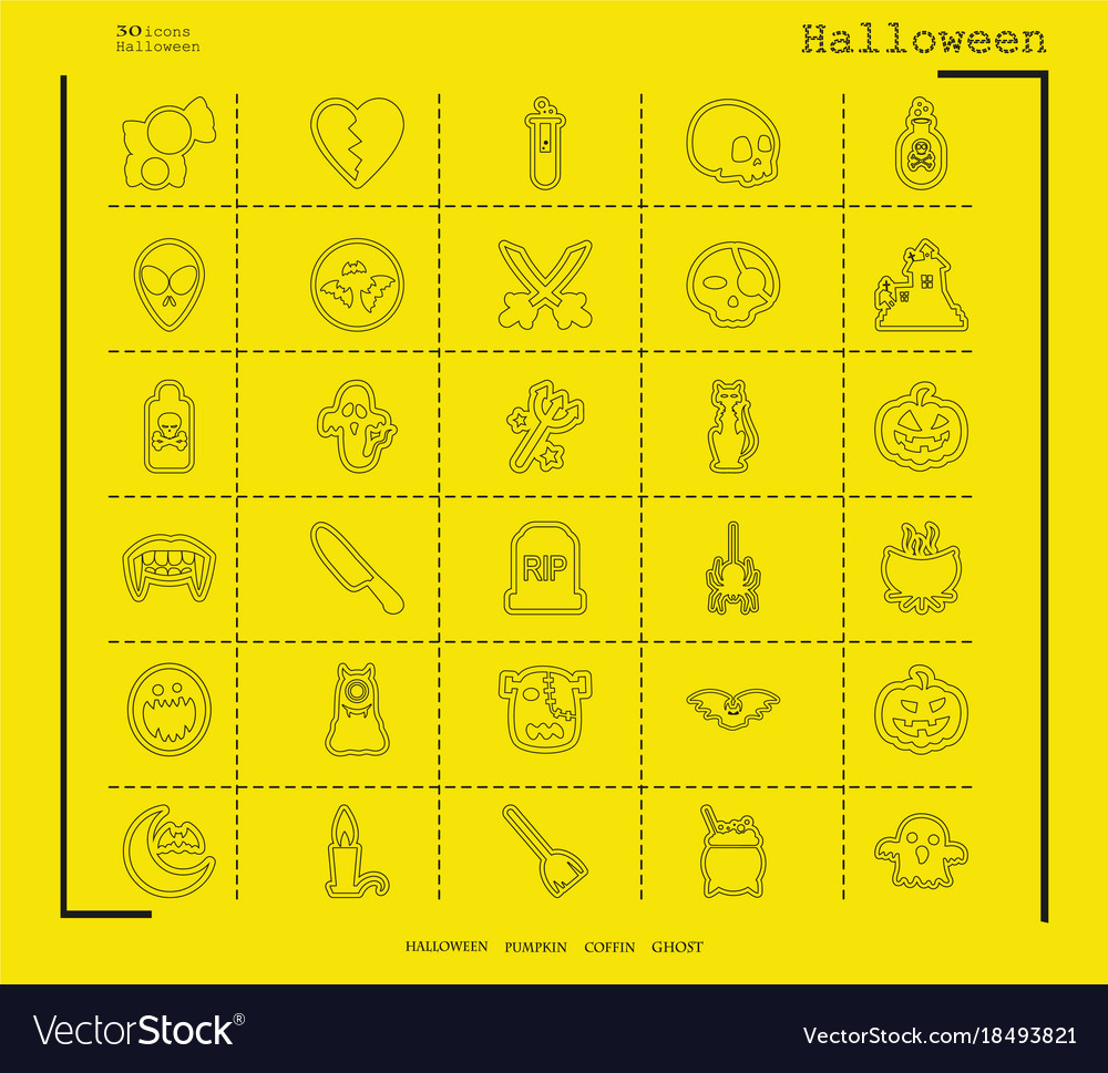 Collection of 30 halloween icons in thin line