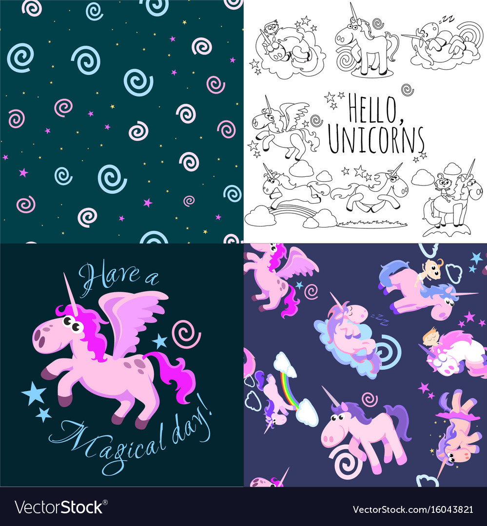 Cute unicorn seamless pattern magic pegasus