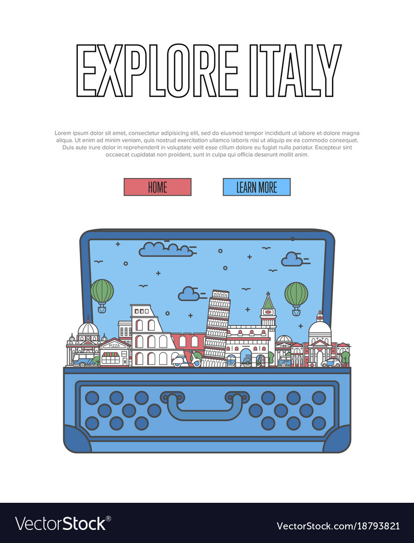 Explore italy poster with open suitcase