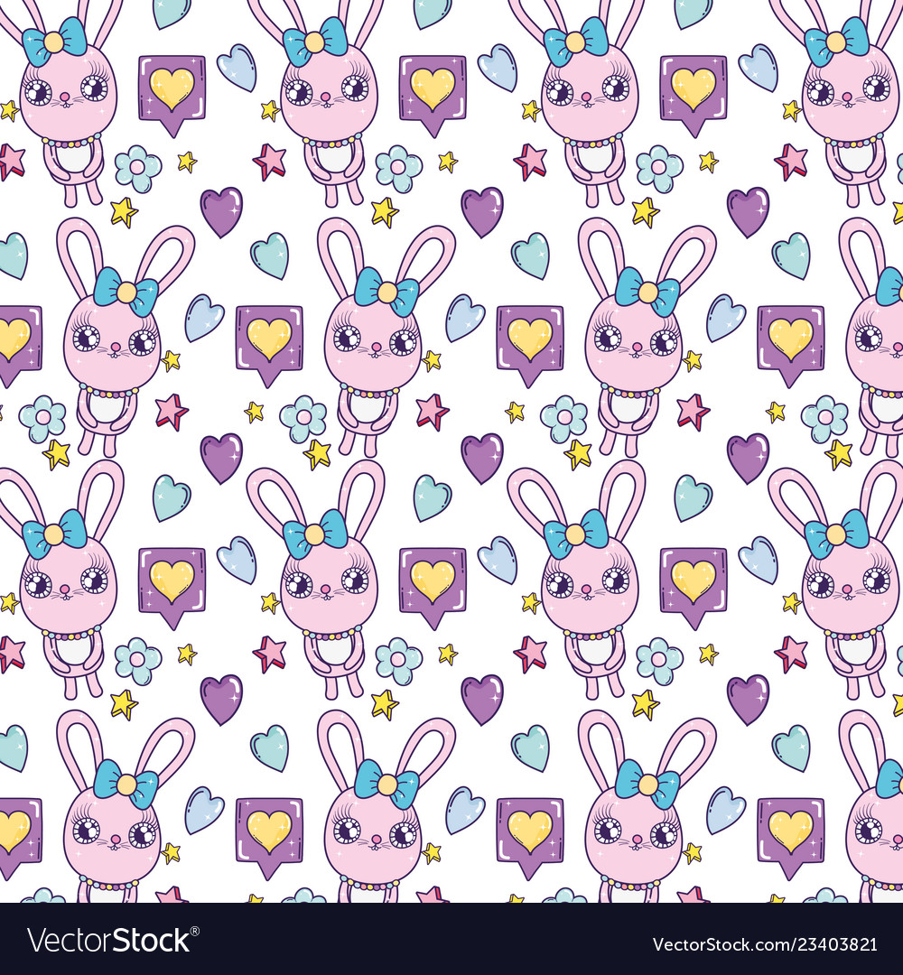 Female rabbit with hearts and stars background