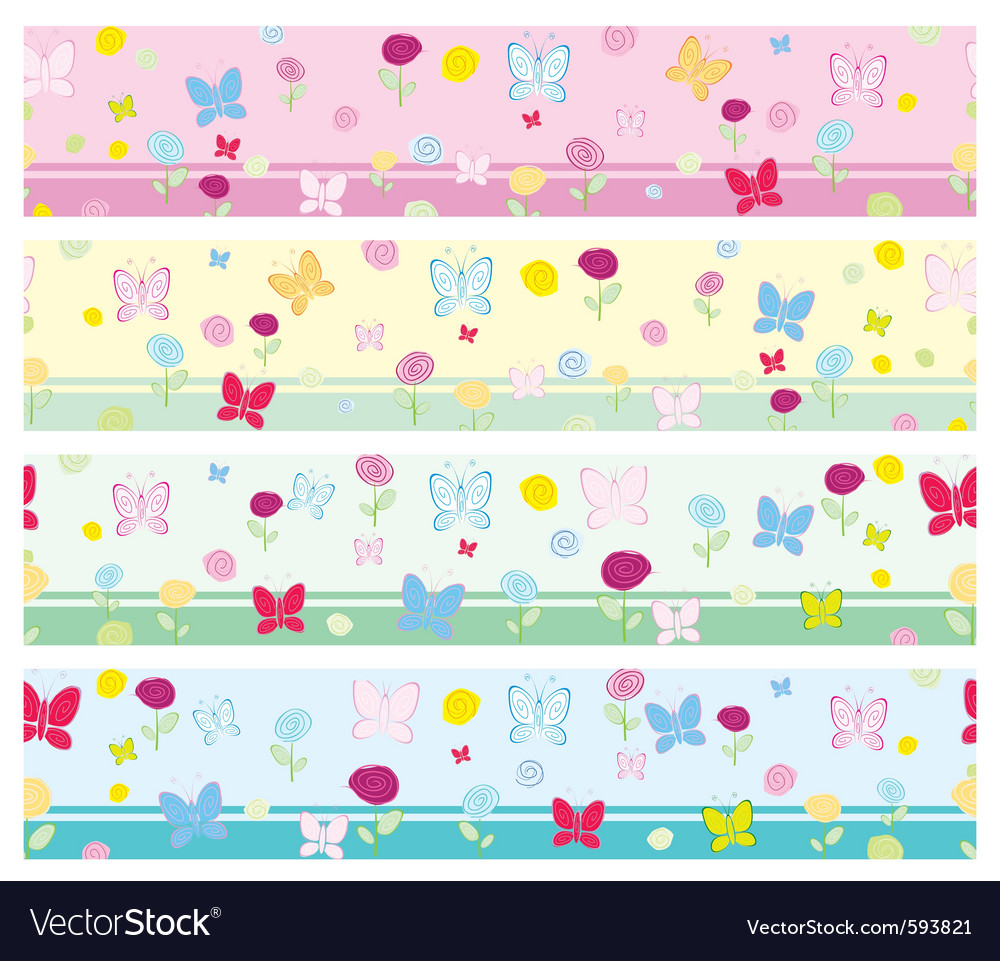 Floral Wallpaper Border Royalty Free Vector Image