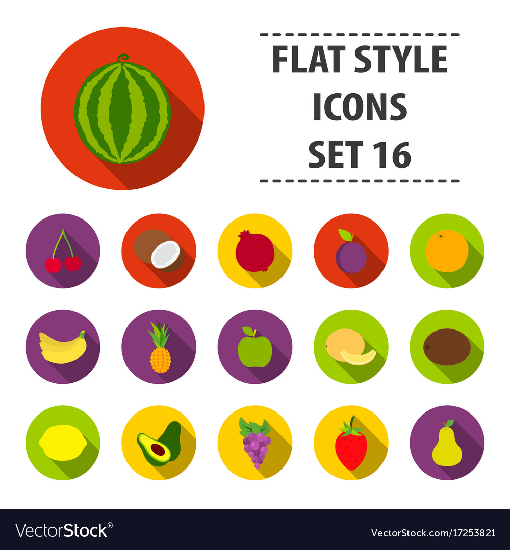 Fruits set icons in flat style big collection