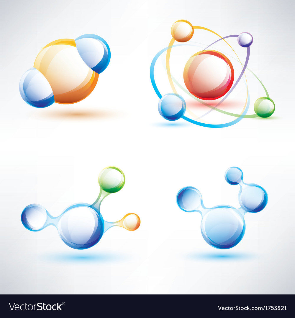 Molecule structure abstract glossy icons set