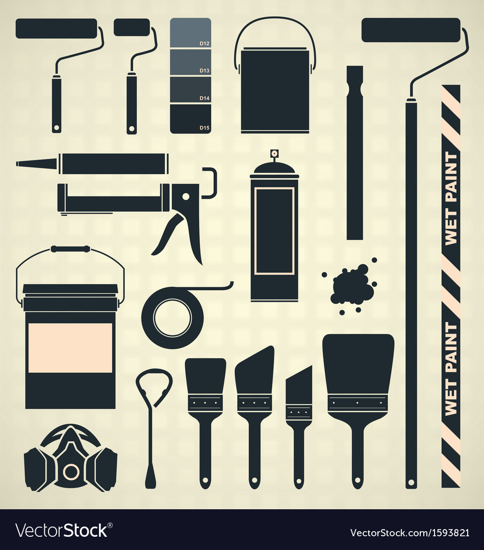 Painting Supplies Silhouettes and Icons vector image