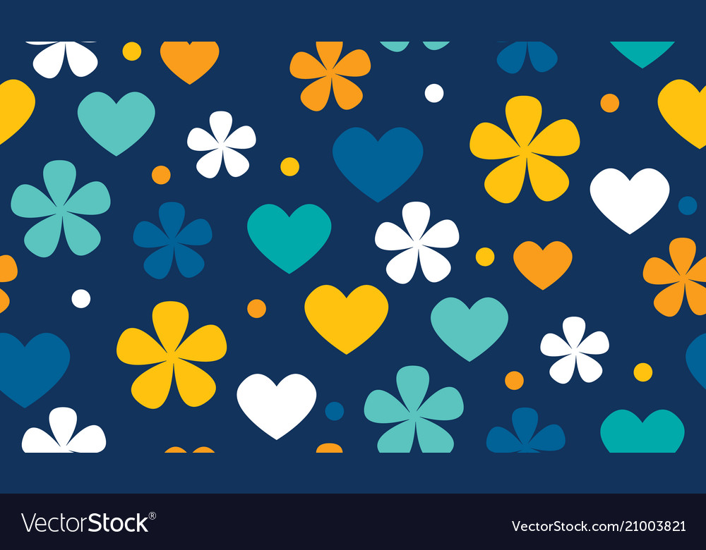 Polka dot floral and hearts seamless pattern