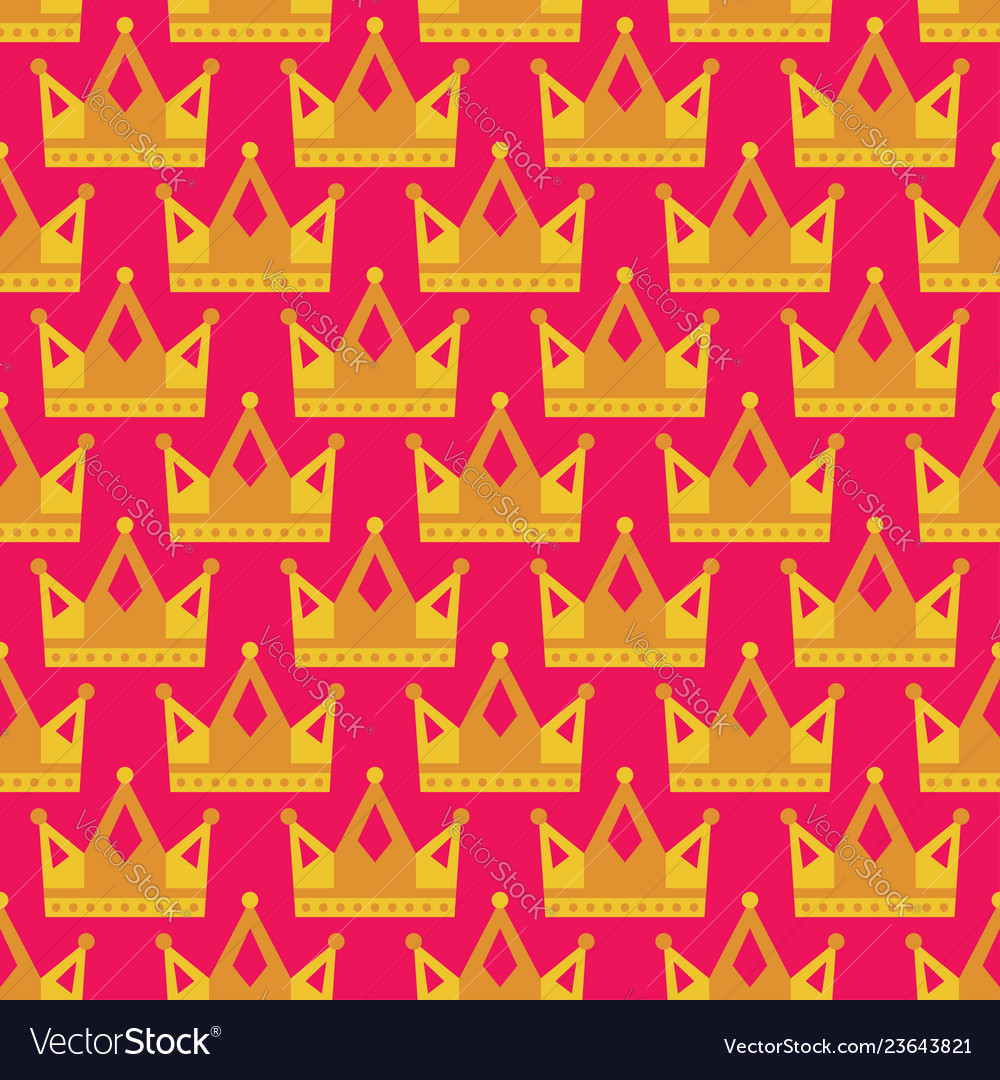 Seamless gold crown pattern background bright pink